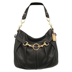 COACH Ergo Pleated Hobo in Black Leather